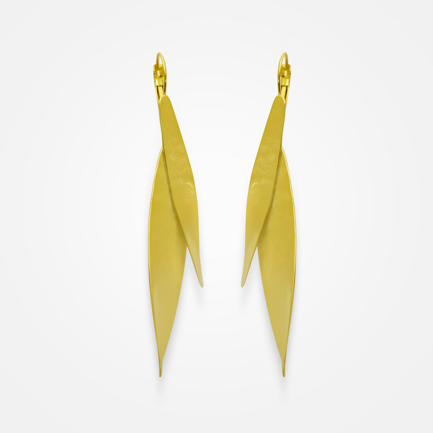 Handcrafted Golden Leaves Earrings by FO.BE