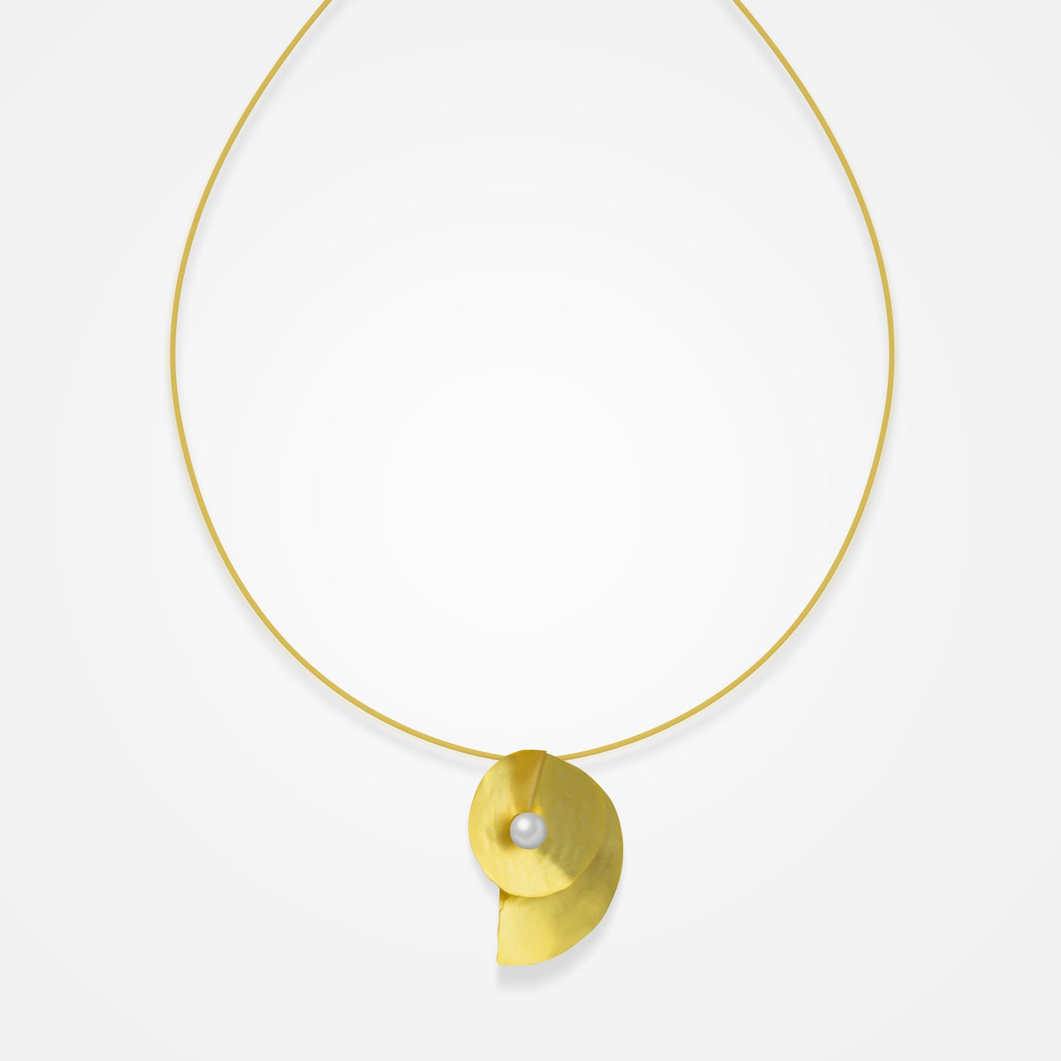 Handcrafted Golden Half-moon Pearl Necklace by FO.BE