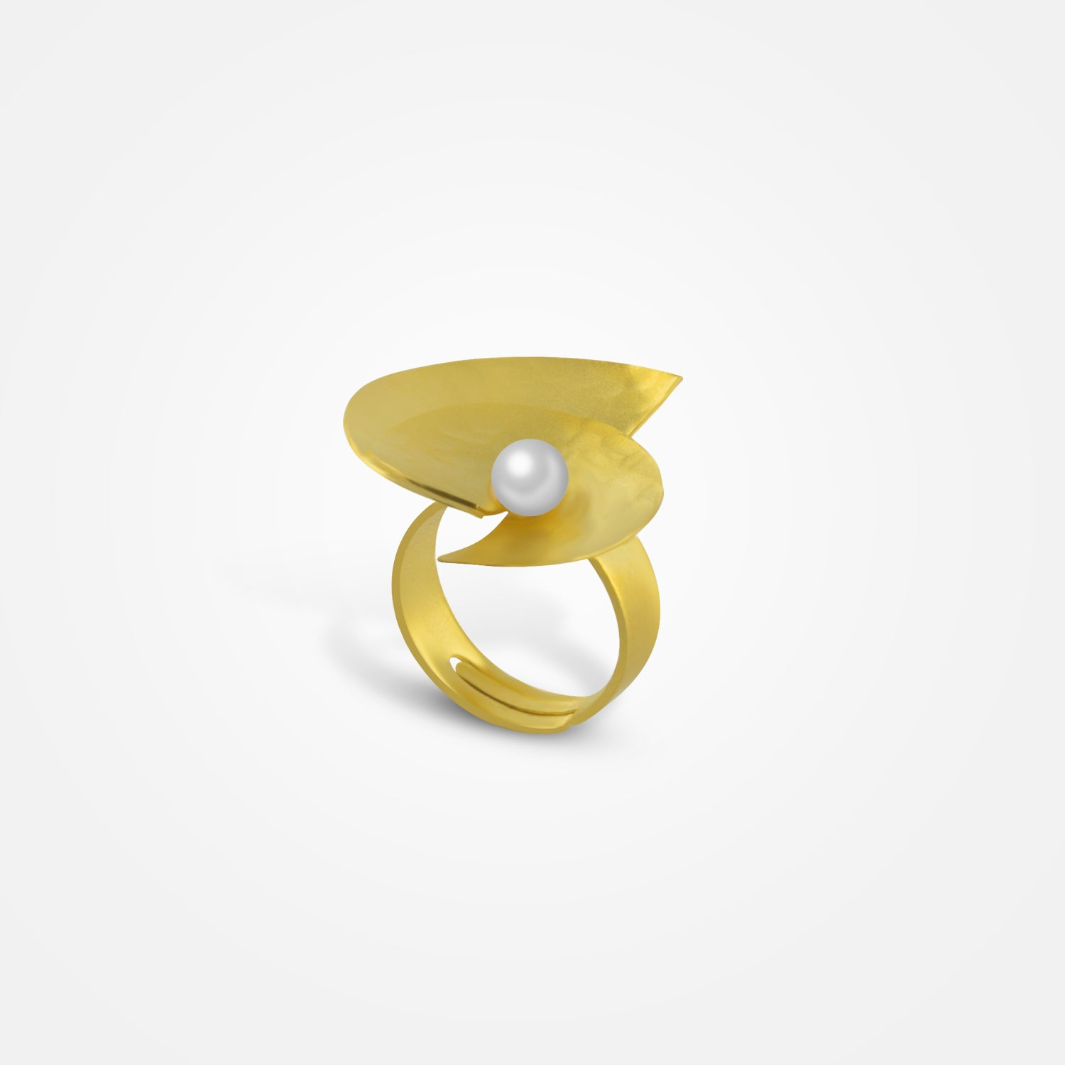 Handcrafted Golden Half-moon Pearl Ring by FO.BE