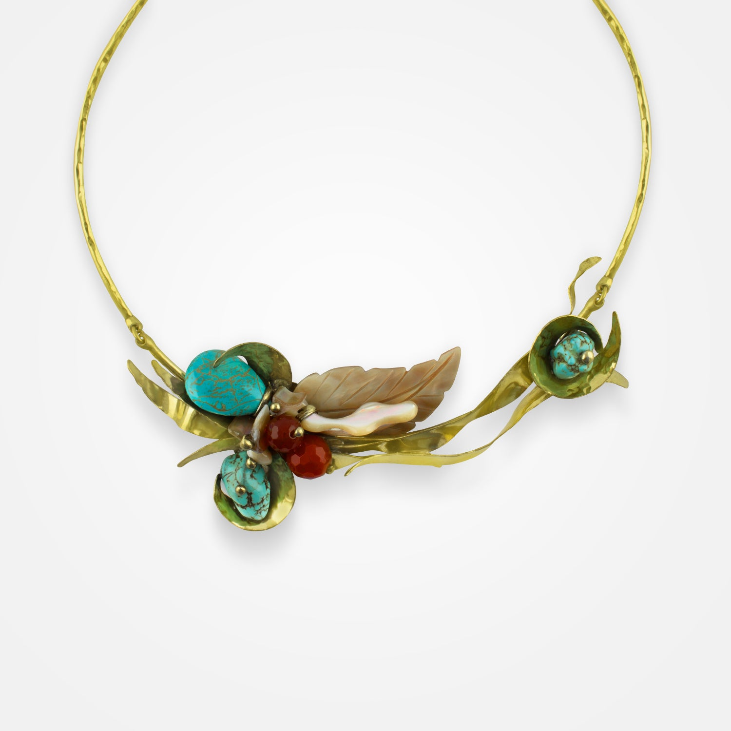 Handcrafted Turquoise Bloom Necklace by FO.BE