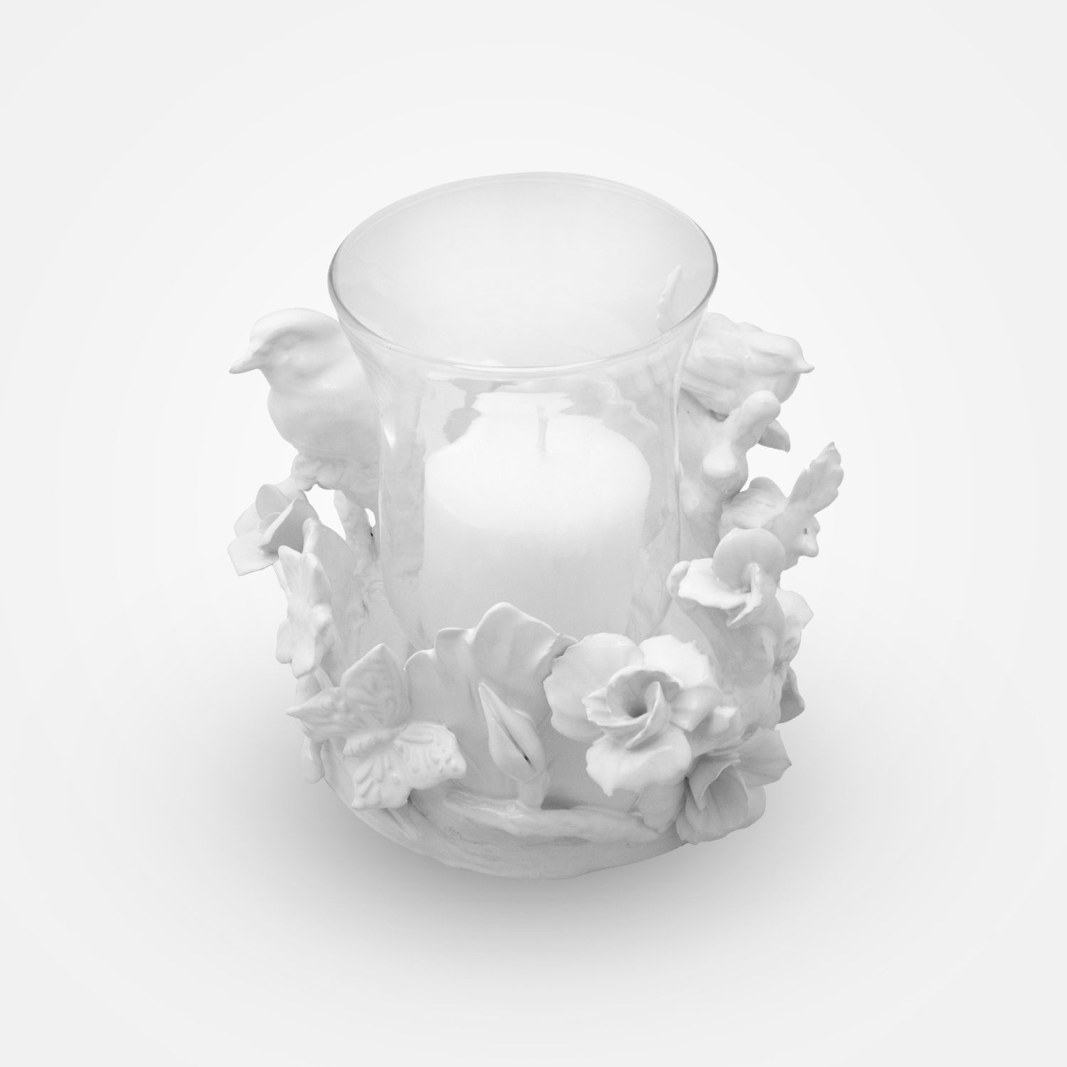 Birds & Flowers Ceramic & Glass Candle Holder by I. Borbone