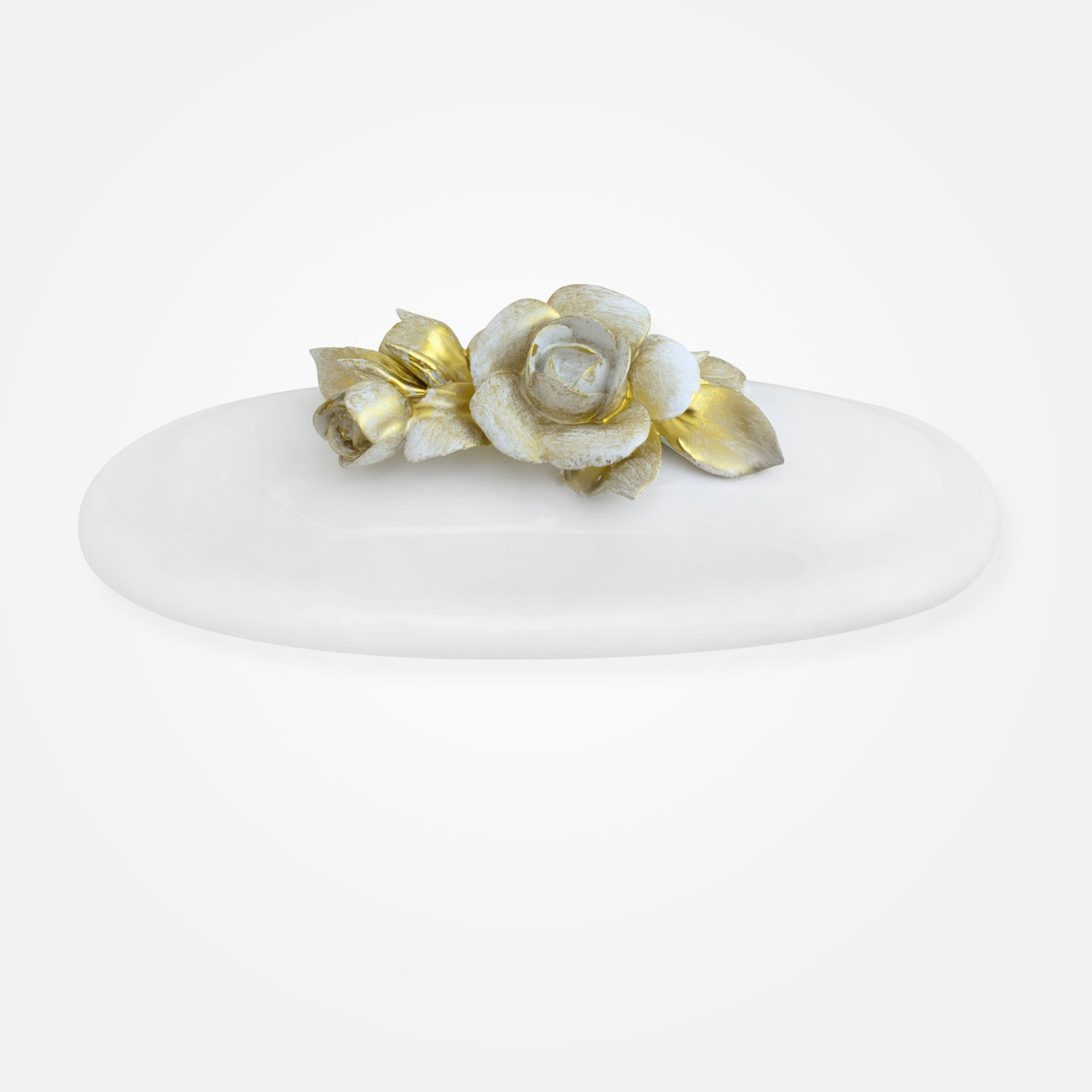 Oval Bowl Topped with Golden Flowers by I. Borbone