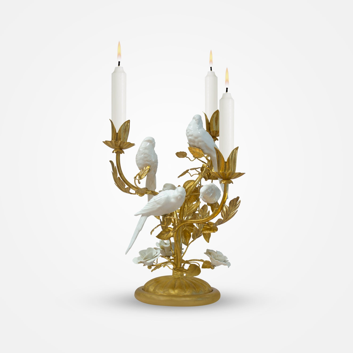 Birds & Flowers Ceramic 3-Flame Candle Holder by I. Borbone