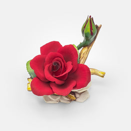 Handmade Porcelain Red Rose with Bud by NAPOLEON Capodimonte Italy - Var1