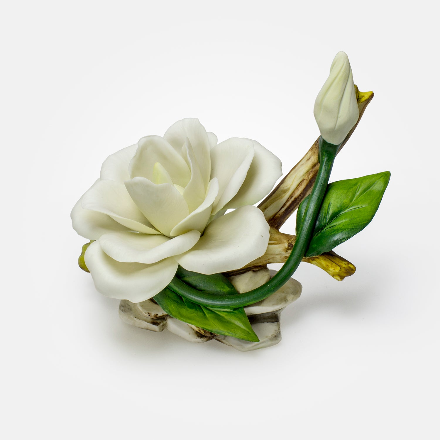 Handmade Porcelain White Rose with Bud by NAPOLEON Capodimonte - Italy - Var1