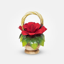 Handmade Porcelain Red Rose Arrangement by NAPOLEON Capodimonte Italy - Var1