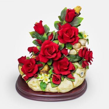 Handmade Porcelain Red Rose Arrangement by NAPOLEON Capodimonte - Italy