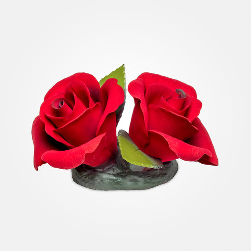 Handmade Porcelain Red Roses by NAPOLEON Capodimonte Italy - Var36
