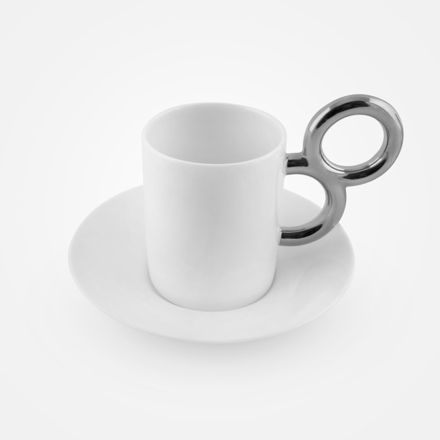 Maniériste Platinum-Plated Coffee Set by Extranorm - 2 Cups with 2 Saucers, Sugar and Creamer