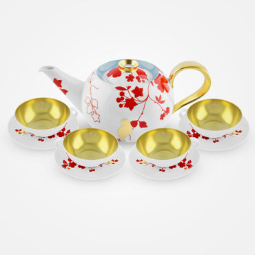 Fürstenberg Gold-Plated Tea Bowls, Saucers, Tea Pot – Emperor's Garden
