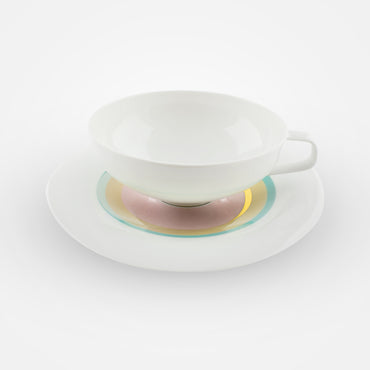 Fürstenberg Tea Cups with Saucers - Fluen . Shifting Colors