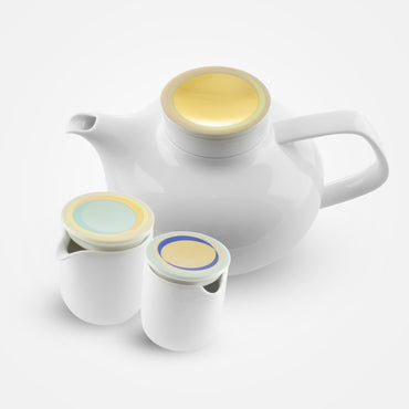 Fürstenberg Tea Pot with Tea Strainer, Sugar Box, Creamer - Fluen . Shifting Colors