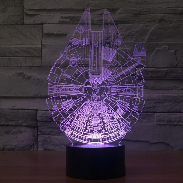Star Wars Inspired Millennium Falcon 3D Optical Illusion Lamp