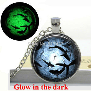 Glow in the Dark Shark Glass Necklace