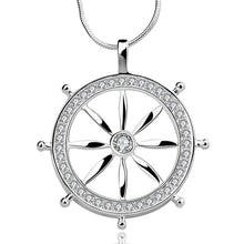 crystal metal ship steering wheel necklace