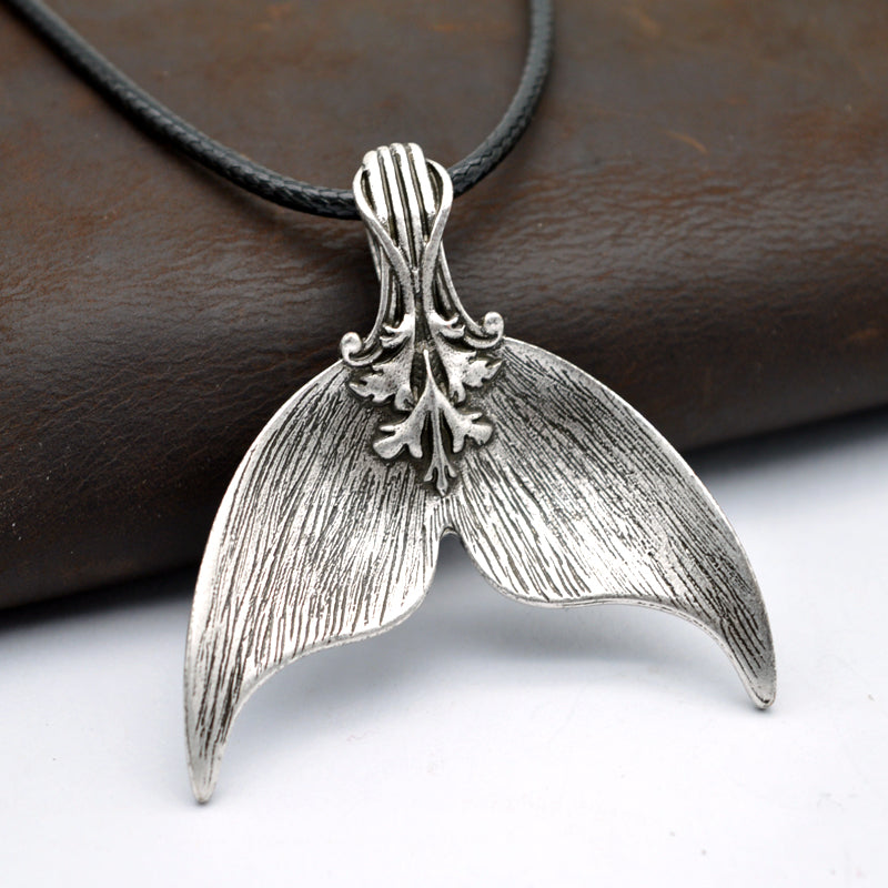 silver handmade Vintage Whale Tail Necklace