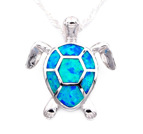 blue fire opal turtle necklace