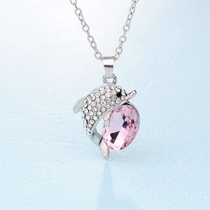 beautiful crystal dolphin rhinestone necklace