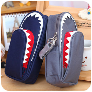 black grey school Sharky Pencil Case