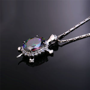 silver gold rhinestone Vintage Turtle Necklace