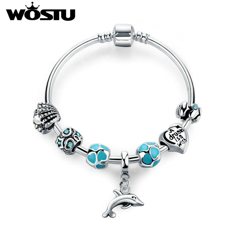 round silver beads Turquoise Dolphin Bracelet