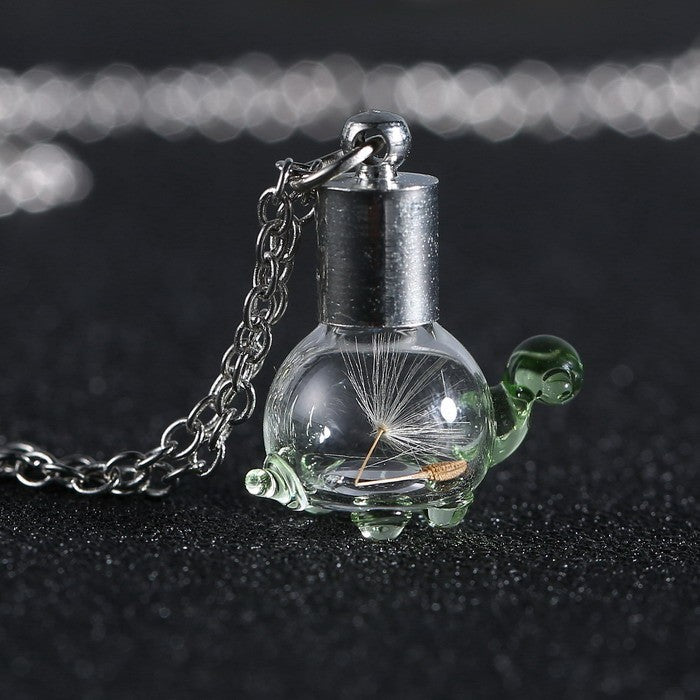 transparent dandelion zinc alloy turtle necklace