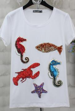 white sea creatures cotton shirt