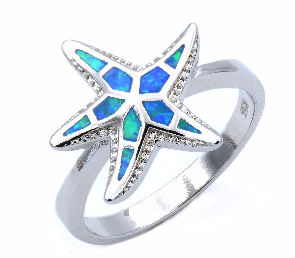 stainless steel silver Opal Starfish Ring