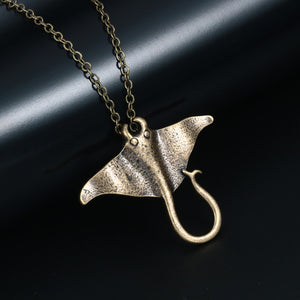 bronze silver Vintage Manta Necklace