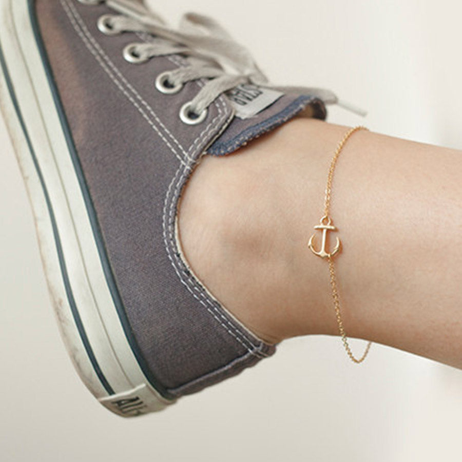 nautical gold chain link anklet