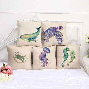deepsea marine creatures canvas printed pillow