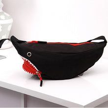 blue and red goblin shark waist bag fannypack
