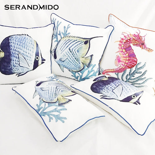Ocean Style Sea Animal Marine Cushion Covers for Sofa Seat Car