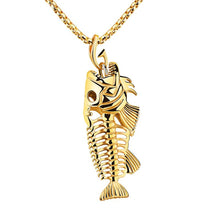 gold fish bone skeleton chain necklace