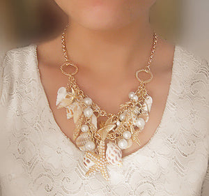 Sea Shell Starfish Faux Pearl Bib Statement Necklace Jewelry