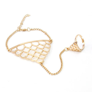 Gold Chain Link Net Harness Bracelet Bangle