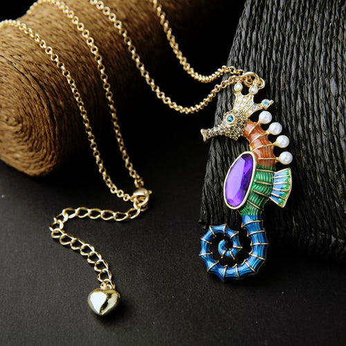 multicolor seahorse gold chain link necklace