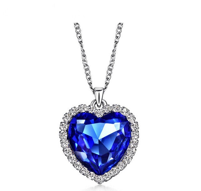 sapphire blue ocean heart crystal chain necklace