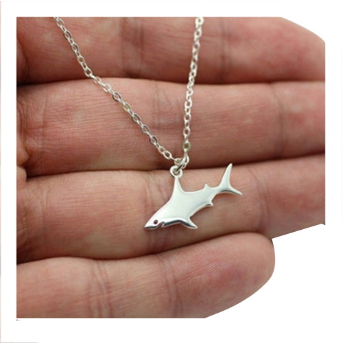 Cute Silver Shark Pendant Necklace