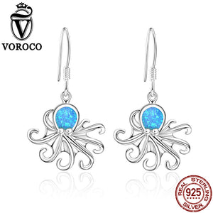 Pure Sterling Silver Unique Octopus Drop Earrings Fine Jewelry
