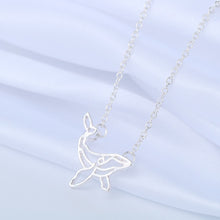 gold silver minimalist whale necklace