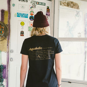 Aquaholic Women's Rasta All Gold Lettering Tee