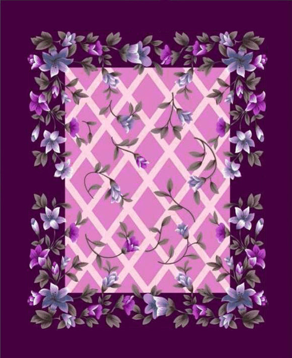 Blanket King 1PLY: Poptex: 6KG g0232 Purple Floral