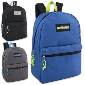 24pc Case Wholesale Trailmaker Classic 17 Inch Backpack Bag - 3 Colors