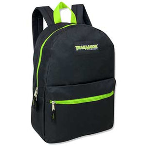 Backpack Trailmaker 17 Inch Black Neon Green Zippers