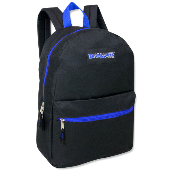 Backpack Trailmaker 17 Inch Black Blue Zippers