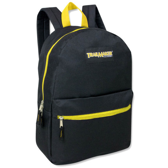Backpack Trailmaker 17 Inch Black Neon Yellow Zippers