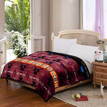 Blanket Queen 2PLY Flannel Southwest 16112 Burgundy