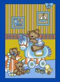 Blanket 50x60 Baby Rocking Horse Bear 1011 Blue