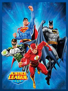 Blanket 60x80 Cartoon  JUSTICE LEAGUE BLUE STARBURST